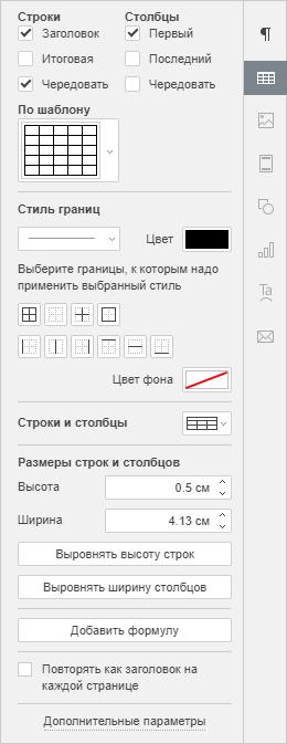 Правая боковая панель - Настройки таблицы