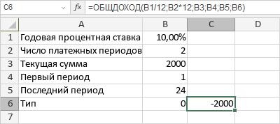 Функция ОБЩДОХОД