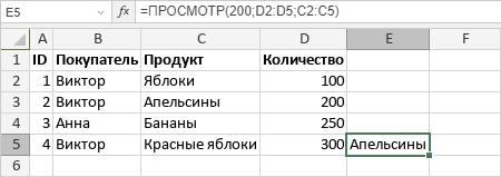 Функция ПРОСМОТР