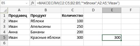 Функция МАКСЕСЛИ