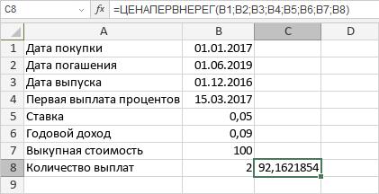 Функция ЦЕНАПЕРВНЕРЕГ