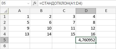 Функция СТАНДОТКЛОН