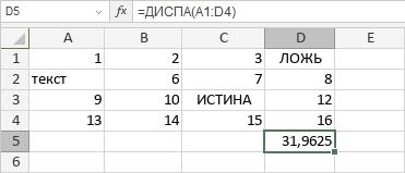 Функция ДИСПА